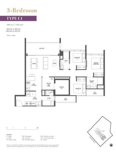 Pullman Residences 3 Bedroom Type C1