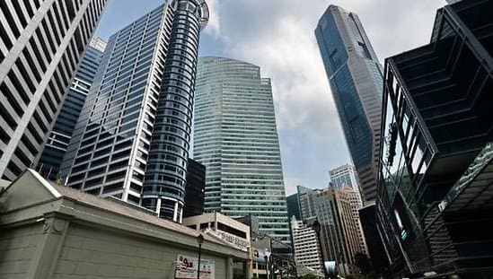View of the central business district in Singapore