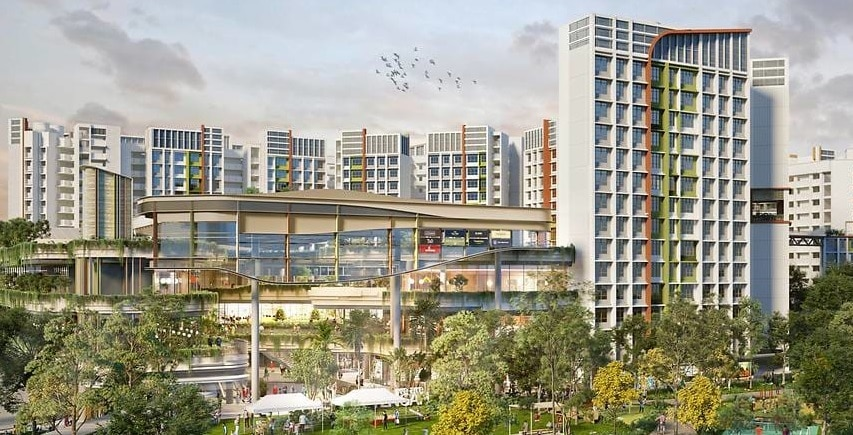 Artist impression of Parc Residences @ Tengah, an integrated development with public housing and a neighbourhood centre